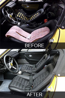 1972 Ferrari Daytona Spyder seats restoration before vs after