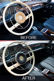 1964 Mercedes 230SL interor restoration before vs after