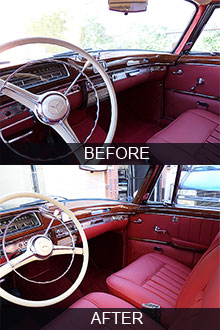 1958 Mercedes 220S coupe dashboard restoration before vs after