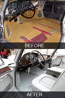 1964 Rolls-Royce Silver Cloud III interior restoration before vs after